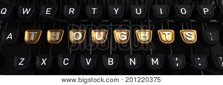 Typewriter with gold buttons in a row, assembling THOUGHTS word