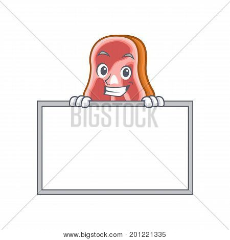 Grinning with board meat character cartoon food vector illustration