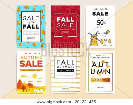 Sale Promotion Web Banner With Luxury  Autumn Background. Promo Fall Season Discount Layout With Fas