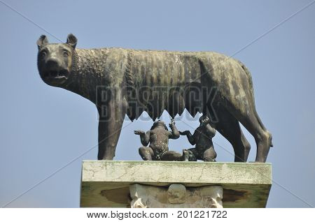 The statue of Romulus and Remus with the Capitol wolf who feeds their own milk