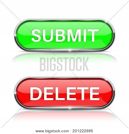 Submit and Delete active buttons. Shiny green and red oval web icons. Vector 3d illustration isolated on white background