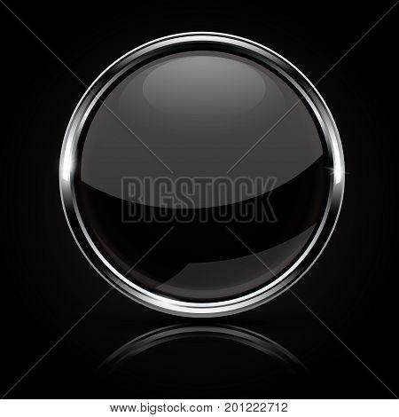 Black glass button with chrome frame on black background. Vector 3d illustration