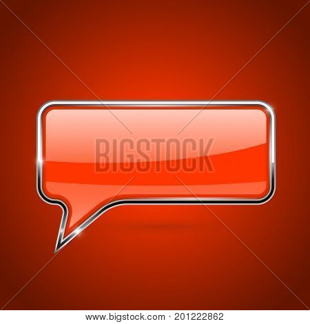Orange speech bubble. Rectangular 3d icon with chrome frame. Vector illustration