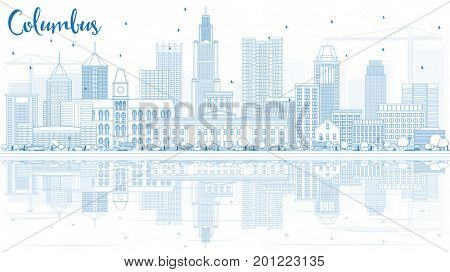 Outline Columbus Skyline with Blue Buildings and Reflections. Business Travel and Tourism Concept with Modern Architecture. Image for Presentation Banner Placard and Web Site.