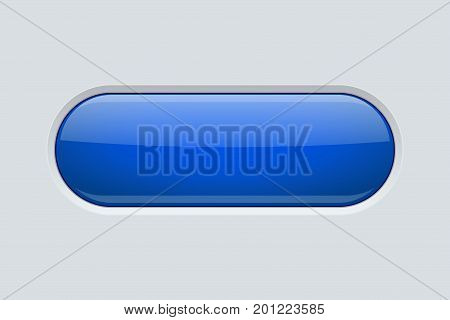 Blue oval button. Shiny web element. Vector illustration