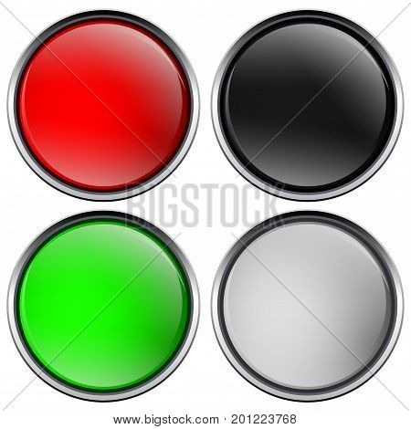 Round buttons with chrome frame. Vector illustration isolated on white background