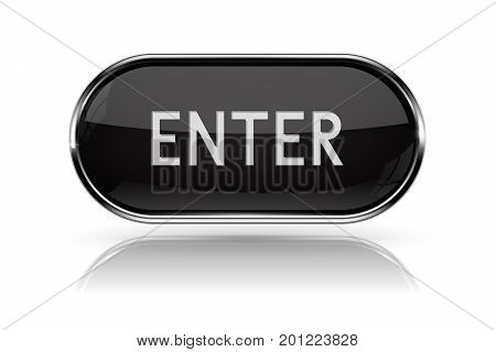 ENTER button. Oval black web button with chrome frame. Vector 3d illustration isolated on white background