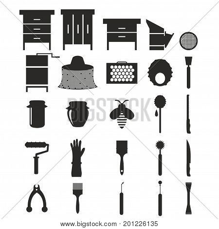 Flat black silhouette design elements of Beekeeping and apiculture. Beekeeper Tools and equipment set. Apiary Instrument isolated. Beehive and Honeycomb. Honey in jar