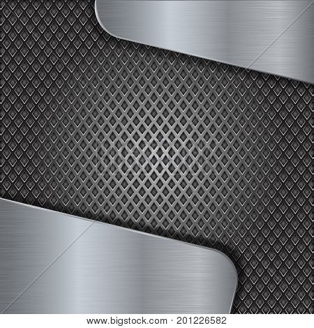 Iron perforated background with metal brushed elements. Vector 3d illustration