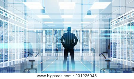 Silhouette Man In Data Center Room Hosting Server Computer Information Database Flat Vector Illustration