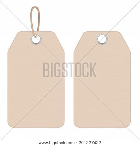 Price tag. Clothes blank label. Vector illustration isolated on white background