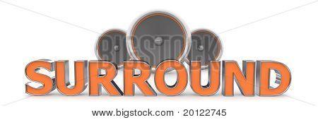 Three Speakers - Surround In Orange
