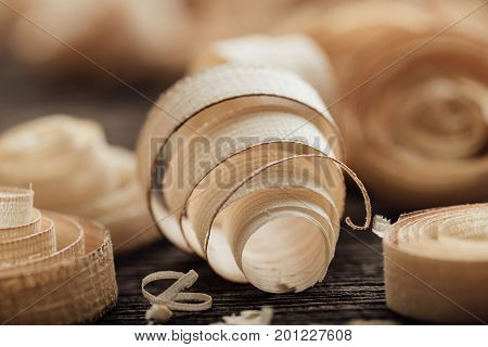 Wood Shavings On The Carpenter's Workbench