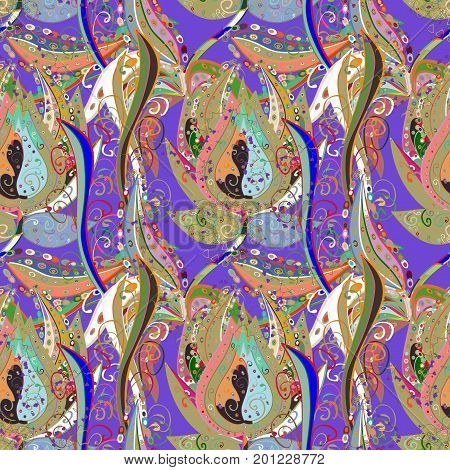 Vector - stock. Seamless background pattern. Watercolor hand drawn. Flowers of the valley on colorful background.