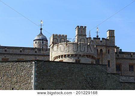 LONDON, GREAT BRITAIN - MAY 16, 2014: This is a fragment of fortress fortifications of Tower of London.