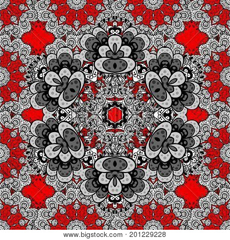 Floral pattern. Vector white floral ornament brocade textile pattern. Red background with elements. White pattern.