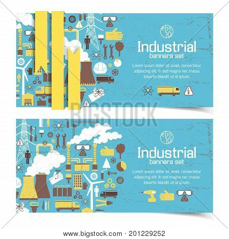 Horizontal banners with industrial equipment and yellow ribbon on blue worn background isolated vector illustration