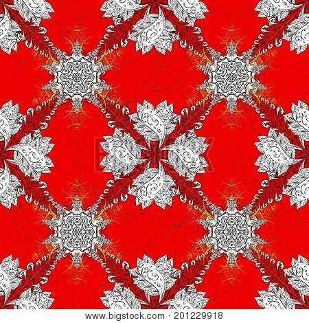 White pattern on red background with elements. Classic white pattern. Vector traditional orient ornament.