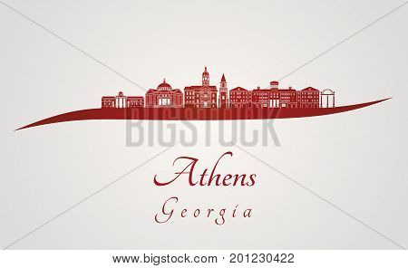 Athens GA skyline in red and gray background in editable vector file