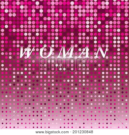 Woman on pink dot halftone abstract background stock vector