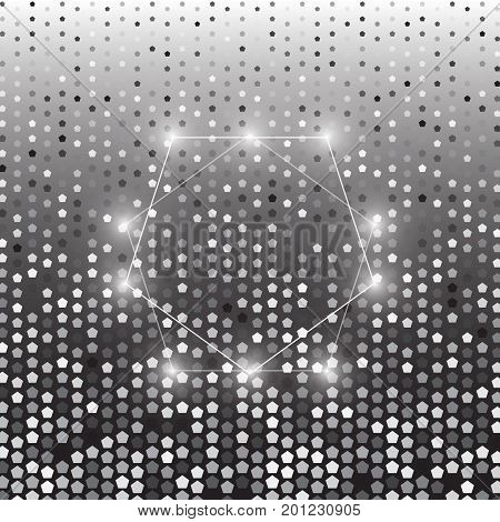 Pentagon silver halftone dot abstract background stock vector