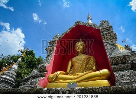 Buddha Statue At Pagoda In Chiang Mai, Thailand