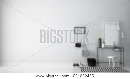 Blur Background Interior Design, Scandinavian Entrance Lobby Hall With Table, Stool, Carpet And Mirr