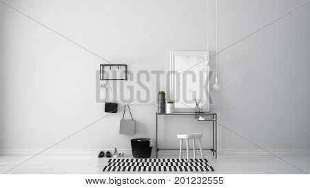 Scandinavian Entrance Lobby Hall With Table, Stool, Carpet And Mirror, Minimalist White Interior Des