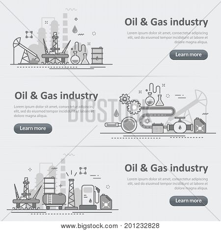 Flat line vector design concept banner templates set of oil and gas production industry process petroleum product extraction valving for design header post website on gray paper background