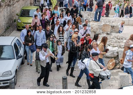 Bar Mitzvah Ritual At The Western Wall In Jerusalem, Israel. Bar Mitzvah Is Jewish Coming Of Age Rit