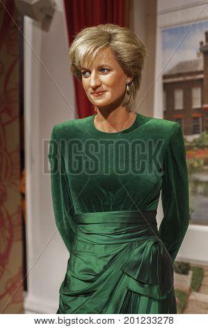 London, the UK - May 2016: Princess Diana wax figure in Madame Tussaud's museum