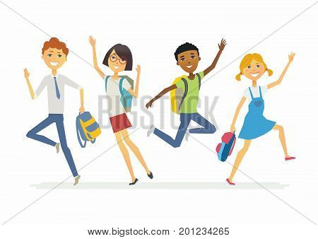 Happy jumping schoolchildren - cartoon people characters isolated illustration. Smiling boys and girls waving hands and jumping. Make a great presentation with these international students