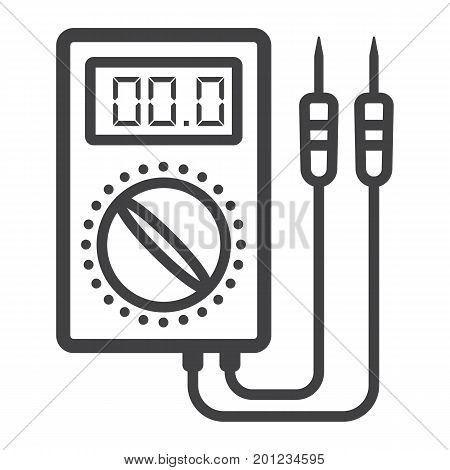 Digital multimeter line icon, build and repair, electric volmeter sign vector graphics, a linear pattern on a white background, eps 10.