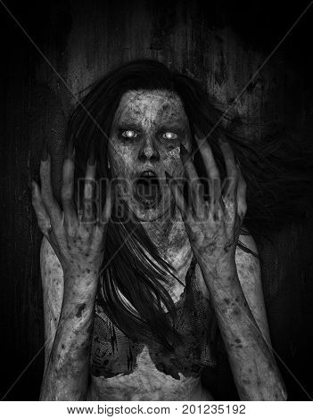 3d illustration of scary ghost woman moaning in the dark,Horror background,mixed media