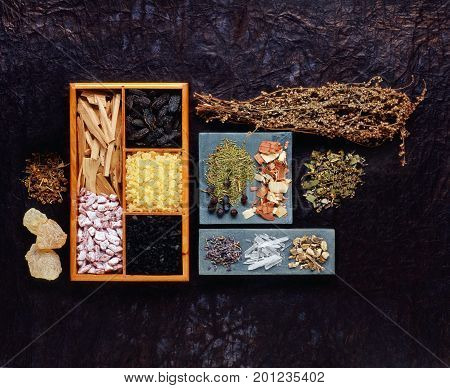 various incense resins and dry incense herbs