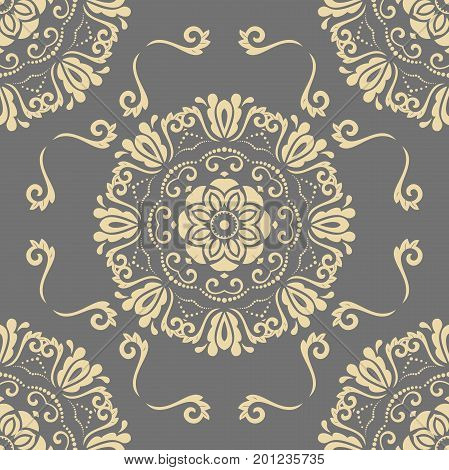 Orient vector classic pattern. Seamless abstract background with repeating golden elements. Orient background