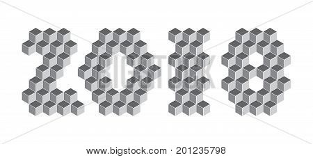 2018 Digits From Isometric Cubes. Pseudo Three Dimensional