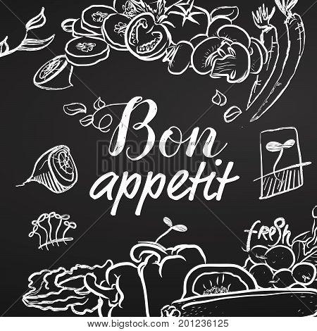 Bon Appetit Chalk Sketch On Blackboard