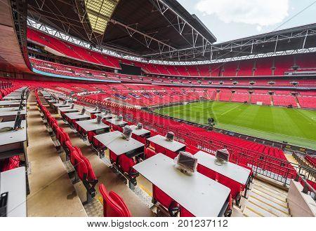 London, the UK - May 2017: at the press area of Wembley Arena