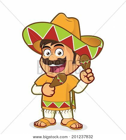 Clipart picture of a mexican man cartoon character with maracas