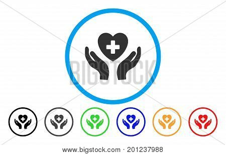 Cardiology Care Hands rounded icon. Vector illustration style is a flat iconic symbol inside a circle, with black, grey, green, blue, orange, red color versions.