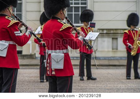 London, the UK - June 2016: Your majesty royal guards orchestra at Whitehall