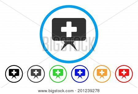 Health Care Presentation rounded icon. Vector illustration style is a flat iconic symbol inside a circle, with black, gray, green, blue, orange, red color versions.