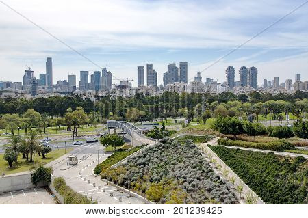 ISRAEL, TEL-AVIV, FEBRUARY, 24, 2016 - View of the modern multistory Tel-Aviv with new roads and beautiful parks, Middle East, Israel.