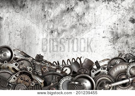 Mechanical collage made of old auto spare parts car