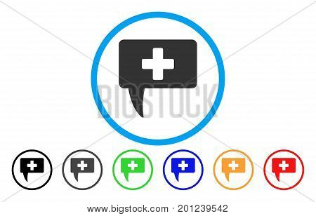 Medical Answer rounded icon. Vector illustration style is a flat iconic symbol inside a circle, with black, gray, green, blue, orange, red color versions. Designed for web and software interfaces.