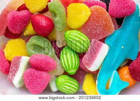 Various candies - jellie beans and bonbons