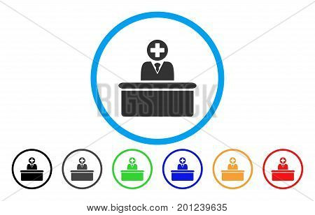 Medical Bureaucrat rounded icon. Vector illustration style is a flat iconic symbol inside a circle, with black, gray, green, blue, orange, red color versions. Designed for web and software interfaces.