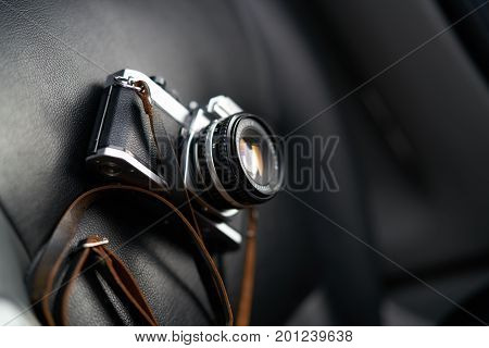 The camera is in the car, the dark background.