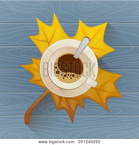 Coffee cup on the autumn fall leaves and wooden blue old table background. Vector Flat illustration